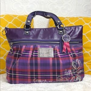 🌸OFFERS?🌸Coach Poppy Purple Plaid Zip Tote